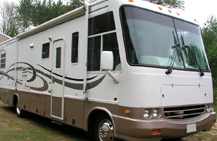 White and brown RV Motorhome